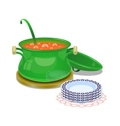Iron pan with hot soup and some plates vector