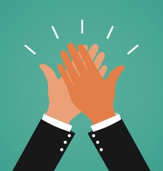 Two business hands giving a high five for great vector