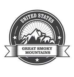 Great smoky mountains stamp - label with ribbon vector