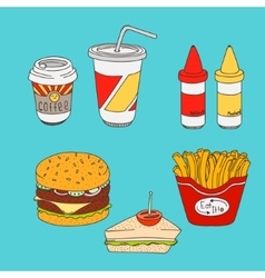 Set of cartoon fast-food meal colored vector