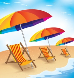 Summer beach holiday seashore with beach umbrella vector