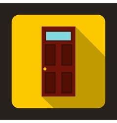 Brown wooden door with glass icon flat style vector