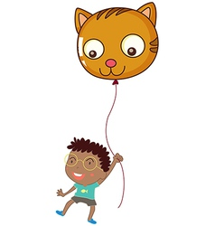 A boy holding a cat balloon vector image vector image