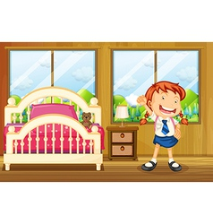 A girl wearing her school uniform vector image vector image