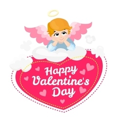 Baby angel cartoon character happy vector
