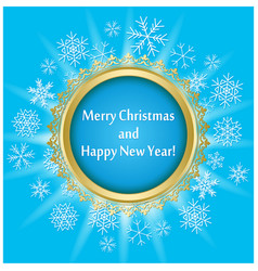 blue greeting card for christmas with round frame vector image