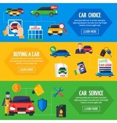 Car dealership 3 flat banners set vector