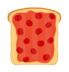 Cherry jam on toast with jelly made in flat style vector