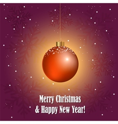 Christmas greeting card with decorative ball vector image vector image