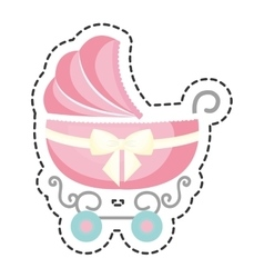 Cute cart baby icon vector