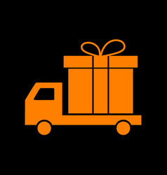 Delivery gift sign orange icon on black vector
