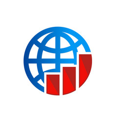 Globe chart business logo vector