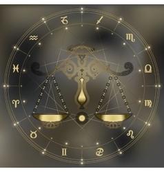 Golden scales zodiac libra sign vector