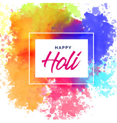 Happy holi poster design with colorful stains vector