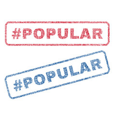 Hashtag popular textile stamps vector