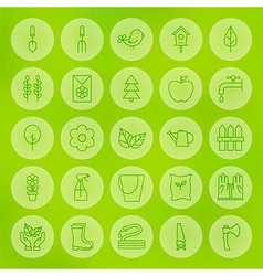 Line Circle Web Gardening and Flowers Icons Set vector image vector image