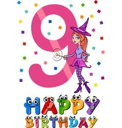 ninth birthday cartoon design vector image