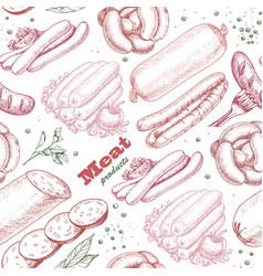 pattern with meat products vector image