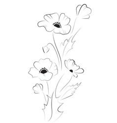 Poppy flowers black silhouette vector