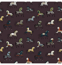 Seamless abstract background with ethnic horses vector