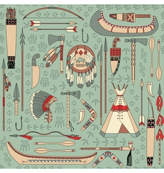 seamless pattern with Native American attributes vector image vector image
