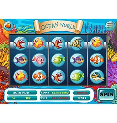 Slot game template with fish characters vector