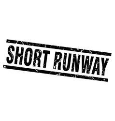 Square grunge black short runway stamp vector