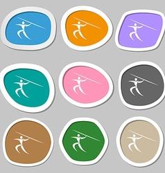 Summer sports javelin throw symbols multicolored vector
