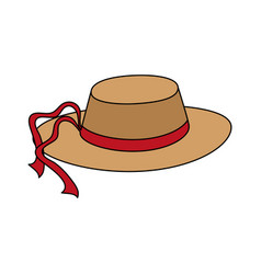 sun hat with red ribbon icon image vector image