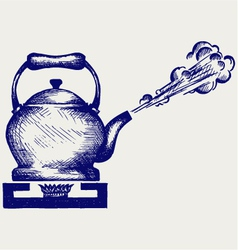 Tea kettle on gas stove vector image vector image