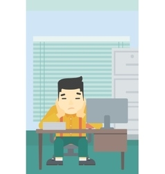 Tired man sitting in office vector