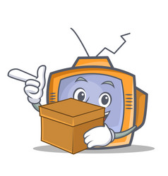 tv character cartoon object with box vector image vector image