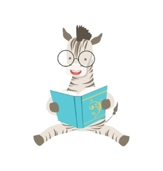 Zebra smiling bookworm zoo character wearing vector