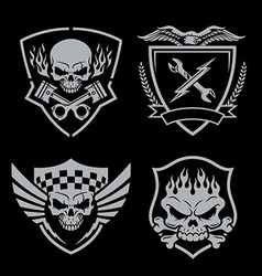 Skull motor crest badge emblem set vector