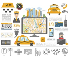 Taxi infographic template flat design vector