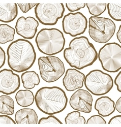 Wood ring saw cuts seamless pattern vector image