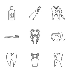 Dental treatment icons set outline style vector