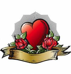 Heart and roses color tattoo vector