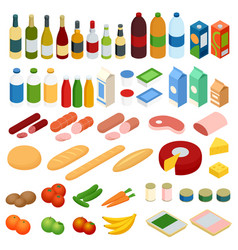 Isometric big set of foodstuff food icons vector