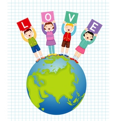 Kids holding text love vector