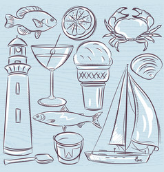 Set of summer symbols shells crab boat vector