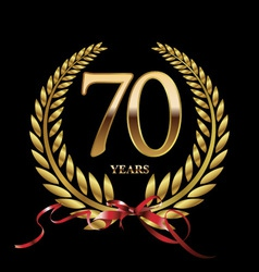 70 years anniversary laurel wreath vector