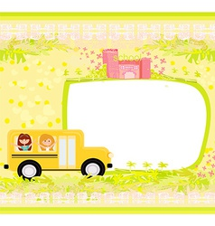 A school bus heading to school with happy children vector