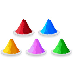 Set of colored powders for happy holi vector