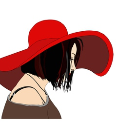Young woman with hat vector