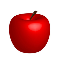 3d apple red apple on white background vector