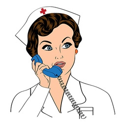Beautiful friendly and confident nurse at phone vector