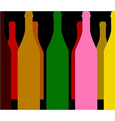 Wine bottles color vector