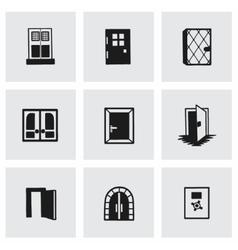 door icon set vector image