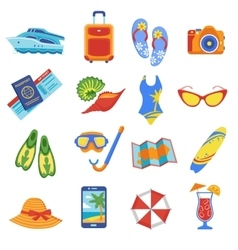 Summer vacation flat icons collection vector